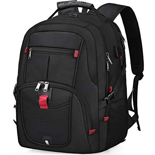 NUBILY Laptop Notebook Rucksack 17 Zoll Mit USB Wasserdicht Grosser Business Arbeit Rucksack Taschen 17,3 Zoll Schulrucksack Backpack Daypack Für Herren Jungen Teenager Männer Schwarz -