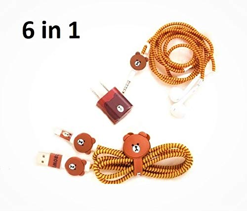 6-in-1 Multi Combo Spiral Cable Protectors + Earphones Winder + Sticker + Cable Clips + Earphone Jack Clip