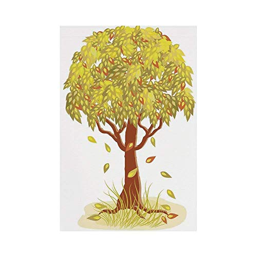 Liumiang Eco-Friendly Manual Custom Garden Flag Demonstration Flag Game Flag,Tree of Life,Single Autumn Tree with Falling Leaves Season Symbol Fall Design Art Living Decorative,Green Brownoo décor -