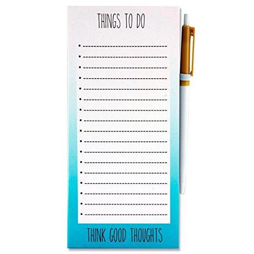 "Premier Stationery g3816805I Love Stationery\""Think Good Thoughts \'Magnetisches to do Notizbuch mit Stift–Blaugrün"