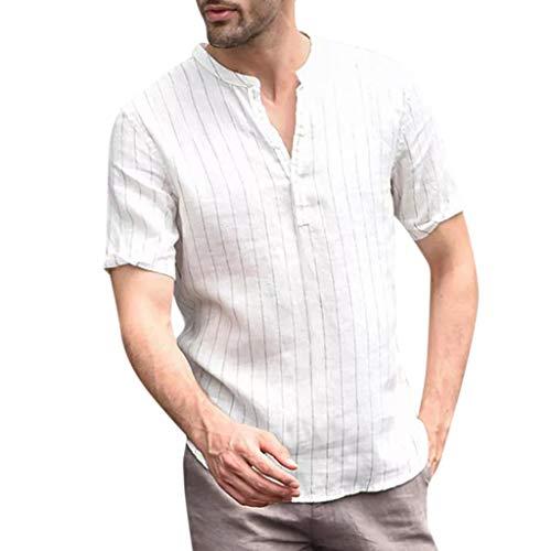 Herren Hemden Yesmile Solide Baumwolle Leinen Streifen Freizeit Hemden Bluse Kurzarm Herren Sommer T-Shirt Baumwolle Leinen Shirt Strand V-Ausschnitt Yoga Top Bluse Herren Bluse