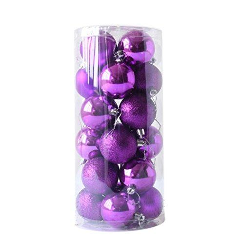 MML Weihnachtskugeln Set 24 Stück Glänzende und polierte Glas Weihnachtsbaum Ball Ornamente Dekorationen 6cm / 8cm (6cm, Violett)