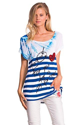 Desigual - Ts_Betsi, T-shirt da donna,  senza maniche, collo rotondo, blu(bleu (navy)), XS