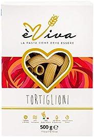 Tortiglioni èviva Pasta Trafilata al Bronzo Prodotta con Semola Rimacinata di Grano Duro con Germe di Grano Vi