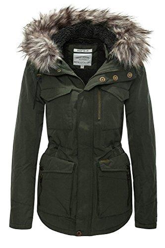 Khujo giacca invernale da donna Parka cappotto corto Dark Olive 330 S