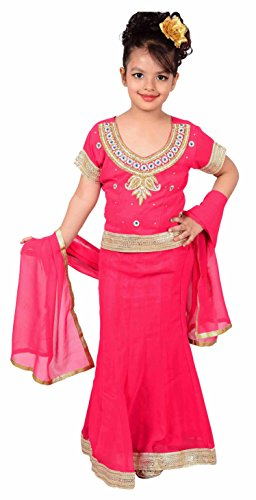 Indian Kinder Mädchen Fuchsien lehangas für Hochzeit, Bollywood Thema Party Kostüm in London UK - 1144 - Fuchsia, 34 (10-11 Yrs)