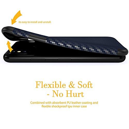 Coque iPhone X, Lohasic Ultra Mince TPU Silicone Housse Antichoc avec Fibre de Carbone Motif Hybride Anti-dérapante, Flexible Protecteur léger Fin Case Armure pour Apple iPhone X (2017) Bleu Marine Bleu