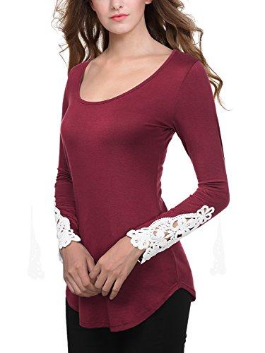 Slivexy Femme T-Shirt a Manches Longues avec Dentelle Col Rond Violet