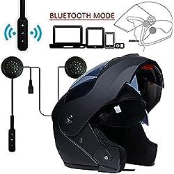 MOPHOTO Casque de moto intégral avec casque Bluetooth, modulable à double visière pour homme/femme, noir mat avec casque