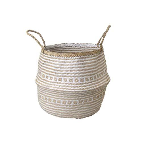 Grafinteriors Korb SJÖRAS, Aufbewahrungskorb handgeflochten aus Seegras, GI Design (Weiß, Größe L)