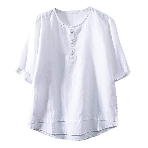 Fenverk Herren Hemd Leinenhemd Sommer Kurzarm Slim Fit Leicht Business Hochzeit Reine Farbe Mode Button Down Strand Shirts Casual Blusen(Weiß C,XXXL)
