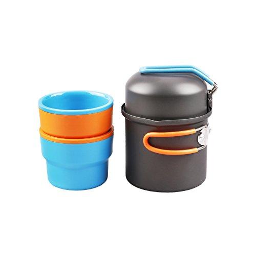 Tierra tk-1310Aluminium Wasserkocher Tasse 3Solo Camping Set für 1Person Rückseite Verpackung (Wasserkocher Eine Tasse)