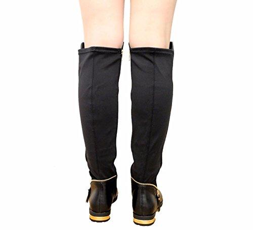 Femmes Zip Au-dessus du genou Bloc Talon Or Clouté Bottes Taille 36-41 Black PU New