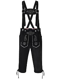 Etbotu Oktoberfest Trachtenmoden Herren Lederhose Stilvolle Stickerei Partykleid Hosen Vintage Faux Fleece Strap Midi Hosen