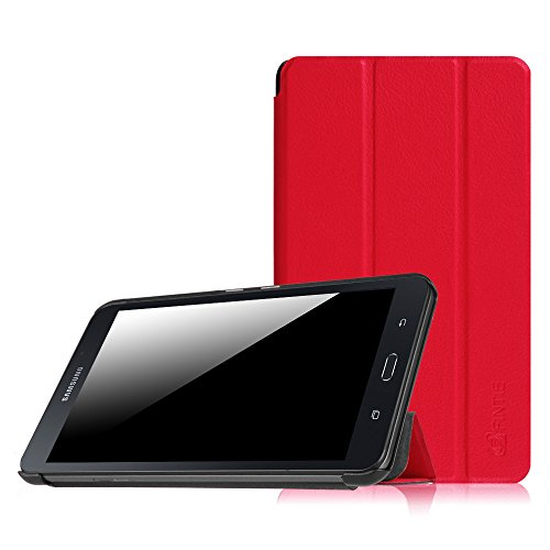 Fintie Hülle für Samsung Galaxy Tab A 7.0 Zoll SM-T280 / SM-T285 Tablet (2016 Version) - Ultra Schlank Superleicht Ständer Slim Shell Case Cover Schutzhülle Etui Tasche, Rot (Samsung Cover Tablet 7)