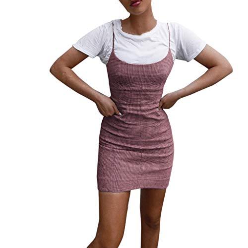 Mode Ärmellos Minikleid A-Linie Slim Fit Dress Damen Bodycon Kleid Plus Size Partykleid Off Shoulder Camisole Abendkleid Resplend