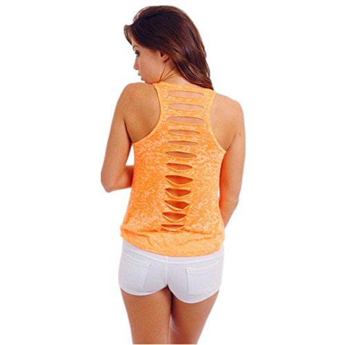 ESAILQ Damen Rundhals Kurzarm T-Shirt Tops mit Allover Anker Print Frauen Casual Druck T-Shirt(S,Orange)