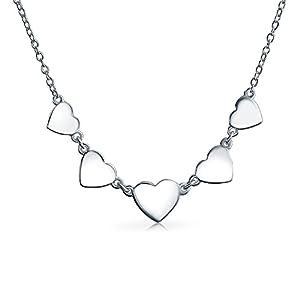 5 Süße Herzform Liebe Aus Poliertem Sterling Silber 925 Choker Halsband Collier Halskette Für Damen Freundin Jugendlich