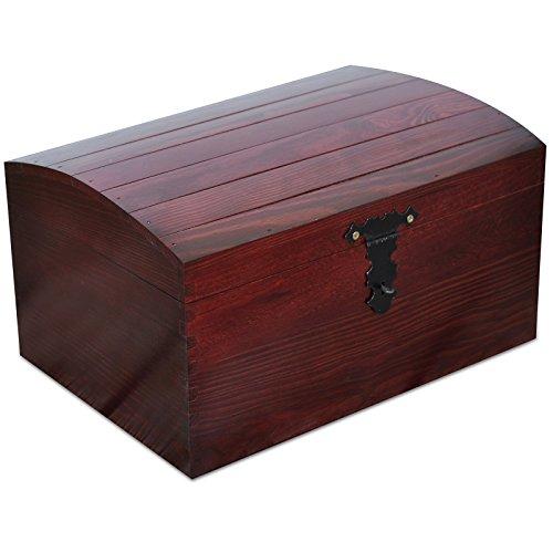 Creative Deco Rouge Coffre Boîte de Rangement Bois | 34,5 x 25 x 19,2 cm | Grande Caisse Malle pour Décorer | avec Couvercle Courbé | Parfait pour Jouets, Outils, Documents et Objets