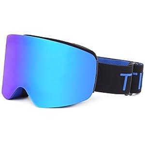 TTIO Skibrille-zylindrisch OTG Anti-Fog UV-Schutz Sphärisches Glas, austauschbar, für Helm geeignet, Snowboarding Schneebrille für Männer, Frauen, Jugend, Unisex