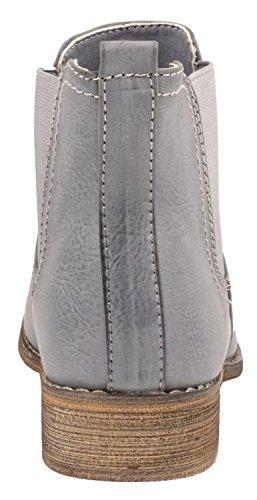 Elara Chelsea Boots | Bequeme Damen Stiefeletten | Lederoptik Blockabsatz |chunkyrayan Blau Paris