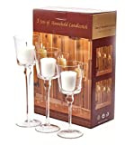 3er Set elegante Glas-Kerzenständer, Teelichthalter, Tischdekoration für Hochzeit oder zu Hause