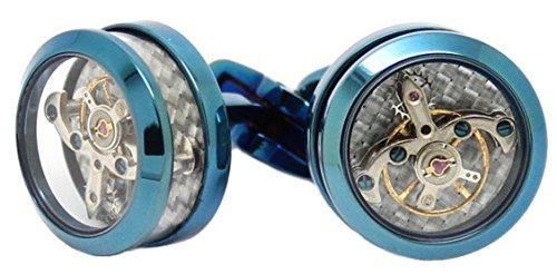 Cufflinks Direct Blau, Steampunk Tourbillon Uhrwerk Design Geschenk Manschettenknöpfe für Herren (Manschettenknöpfe mit Geschenkbox)