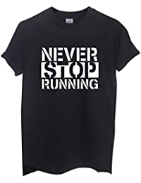 Rock Paper Sisters Unisex Slogan T-Shirt: Never Stop Running