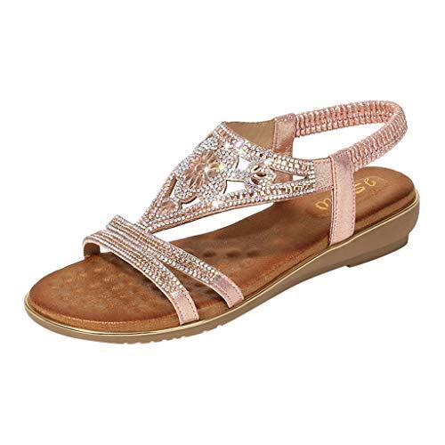 BaZhaHei Crystal Sandali Estivi Donna Eleganti Bassi,Moda Sandali Piatti Sandali da Spiaggia Roma Peep Toe Scarpe Casual Donna Estive (36-42)