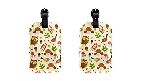 ags with Cute Owl and Bird Forest Print Name ID Labels for Travel Bag Baggage Suitcase with Back Privacy Cover 2 Pack ()