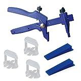 Lantelme 6019 Fliesen Nivelliersystem Basis-Set für Fuge 4 mm und 3-15 mm Stärke - Verlegehilfe - Verlegesystem - Fliesenverlegung - Fliesenverlegehilfe - Fliesenverlegesystem - blue Edition