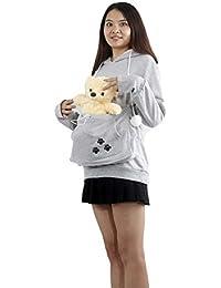 Sudadera con capucha de las señoras del gato del animal doméstico del bolsillo canguro - oreja de gato del bolsillo de la camiseta