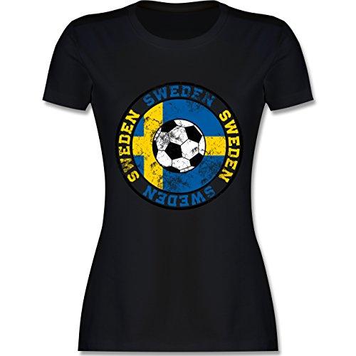 EM 2016 - Frankreich - Sweden Kreis & Fußball Vintage - tailliertes Premium T-Shirt mit Rundhalsausschnitt für Damen Schwarz