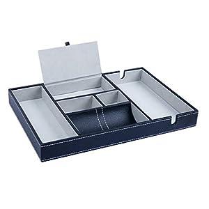 Belle Vous Ablage Leder Tablett Schwarz 6 Fächer Schlüssel Ablage – Herren Organizer Schlüssel Schale Schreibtisch…