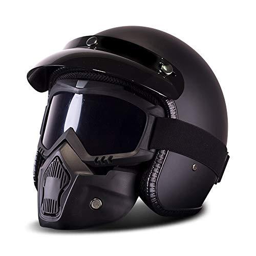 Preisvergleich Produktbild MRDEER Motorradhelm Vintage Motorrad-Helm Integralhelm Helm Klapphelm Winter Skihelm Roller-Helm, Unisex, Alle Jahreszeiten, Inklusive Maske und Sonnenblende, Matteblack