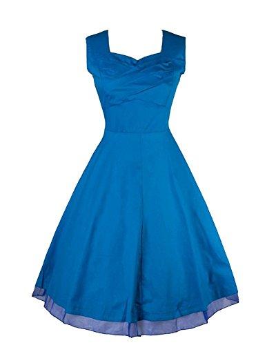 Moollyfox 1950 Style Élégant Vintage Femmes Impression Robe Lumière Bleu