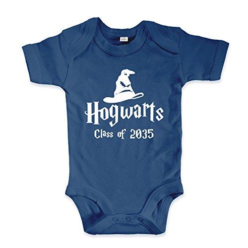 net-shirts Organic Baby Body mit Hogwarts Class of 2035 Aufdruck Spruch lustig Strampler Babybekleidung aus Bio-Baumwolle mit Zertifikat Inspired by Harry Potter, Größe 0-3 Monate, Navy (Lustige Harry Potter Kostüm)