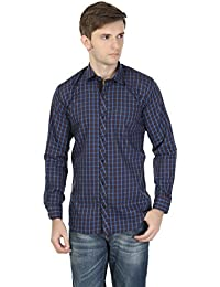 eoigE™ Blue & Brown Full Sleeves Men's Shirt