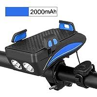 AMYGG Faros de Bicicleta USB Recargables 4 en 1 Luz Delantera de Conducción Multifunción con Soporte para Teléfono Móvil Equipo de Ciclismo Bicicleta Noche de Equitación Carga Tesoro Azul 2000 mAh