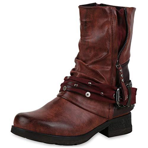 SCARPE VITA Damen Stiefeletten Biker Boots Leicht Gefütterte Stiefel Prints 172188 Dunkelrot 38