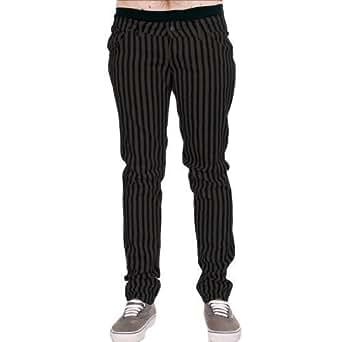 Jist - Jeans Cigarette Pour Homme Rayures Gris Noir Punk Rock Rétro - Gris anthracite et Noir, 28W x Regular