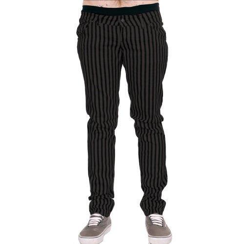 Herren Röhrenjeans Jeans grau & Schwarz Streifen Punk-Rock Glam Indie Retro Jahrgang Goth 28 30 32 34 36 - dunkelgrau grau und schwarz, 30 (Glam Baumwolle Rock)