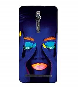 Nextgen Designer Mobile Skin for Asus Zenfone 2 ZE551ML (Face Gorgeous Girl In Dark Closed Eyes MAke Up)
