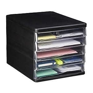 Relaxdays Schubladenbox zur Dokumentenablage, 5 Schubfächer, für Bürobedarf, DIN A4, Brief, HBT 24,5x26,5x34 cm, schwarz