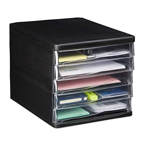 Relaxdays Oficina Organizador Escritorio con 5 Cajones, Plástico, Negro, 24,5 x 26,5 x 34 cm, PP