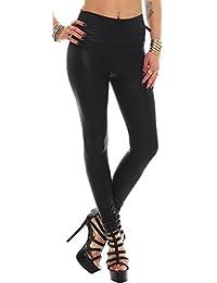 Lederoptik-Leggings Leggins , taillenhoch Damen Hose Treggins Jeggings Treggings Leder-Look Taillenhose Taillenleggings