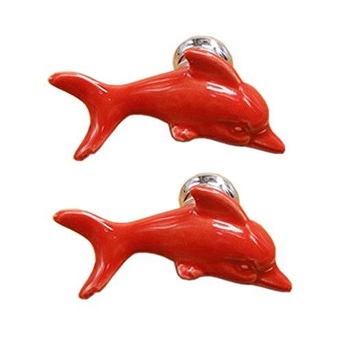 Set von 4 niedlichen Keramik Delphin Schrank Kn?pfe Schublade ziehen Griffe, Rot -