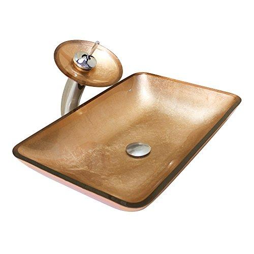 Homelava Gehärtetes Glas Waschbecken mit Wasserfall Wasserhahn, Wasserablauf und Montage