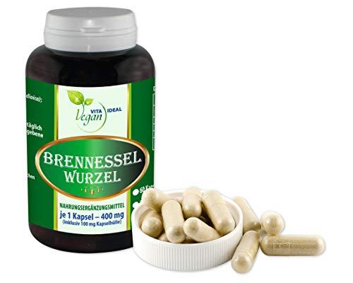 Vegan Brennessel Wurzel 360 pflanzliche Kapseln, je 300 mg rein natürliches Pulver, ohne Zusatzstoffe