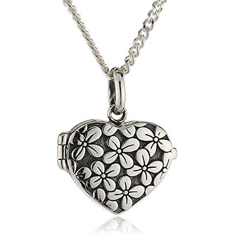 Elements-Collana in argento Sterling da donna con ciondolo a cuore con scrigno P4037, motivo fiore, lunghezza 41 cm - Scrigno Cuore